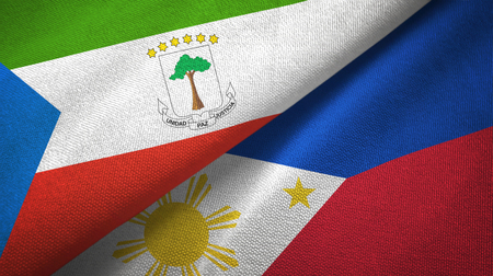 Equatorial Guinea and Philippines two flags textile cloth, fabric texture Stock Photo