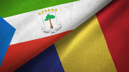 Equatorial Guinea and Romania two flags textile cloth, fabric texture