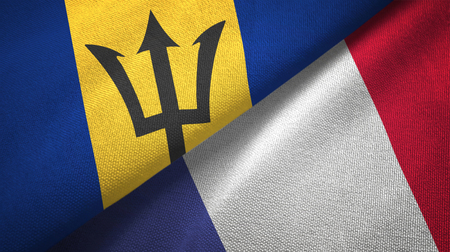 Barbados and France flags together textile cloth, fabric texture