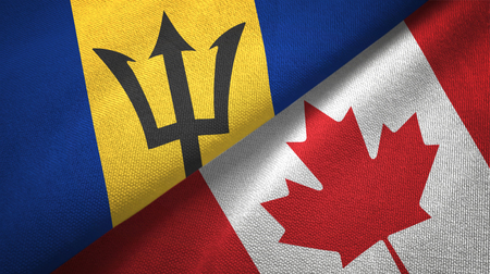 Barbados and Canada flags together textile cloth, fabric texture Banque d'images