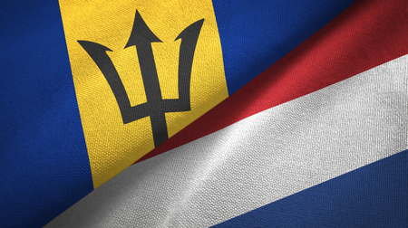 Barbados and Netherlands two flags textile cloth, fabric texture