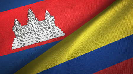 Cambodia and Colombia two flags textile cloth, fabric texture