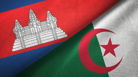 Cambodia and Algeria two flags textile cloth, fabric texture