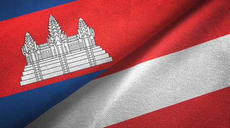 Cambodia and Austria two flags textile cloth, fabric texture