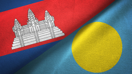 Cambodia and Palau two flags textile cloth, fabric texture