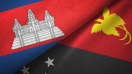 Cambodia and Papua New Guinea two flags textile cloth, fabric texture Фото со стока