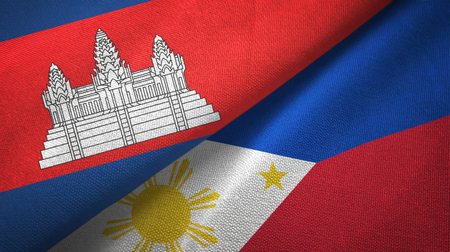Cambodia and Philippines two flags textile cloth, fabric texture Stock Photo