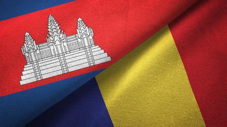 Cambodia and Romania two flags textile cloth, fabric texture Foto de archivo