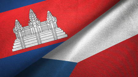 Cambodia and Czech Republic two flags textile cloth, fabric texture