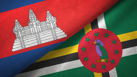 Cambodia and Dominica two flags textile cloth, fabric texture