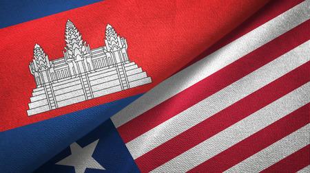 Cambodia and Liberia two flags textile cloth, fabric texture Фото со стока