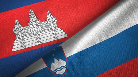 Cambodia and Slovenia two flags textile cloth, fabric texture Фото со стока