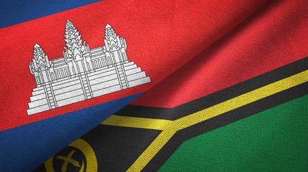Cambodia and Vanuatu two flags textile cloth, fabric texture
