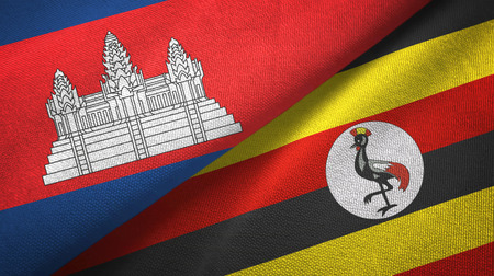 Cambodia and Uganda two flags textile cloth, fabric texture