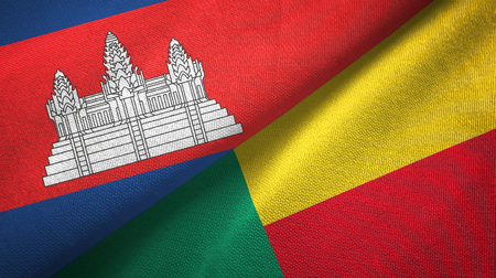 Cambodia and Benin two flags textile cloth, fabric texture