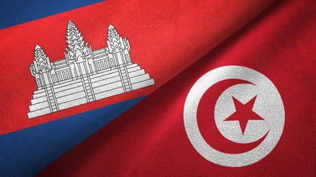 Cambodia and Tunisia two flags textile cloth, fabric texture