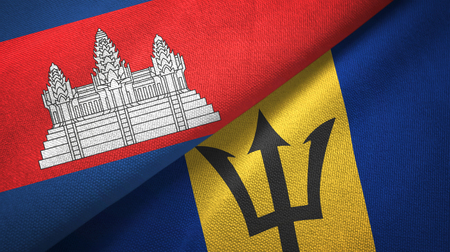 Cambodia and Barbados two flags textile cloth, fabric texture