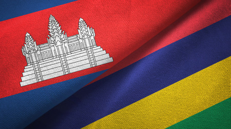 Cambodia and Mauritius two flags textile cloth, fabric texture