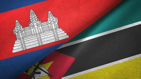 Cambodia and Mozambique two flags textile cloth, fabric texture Фото со стока