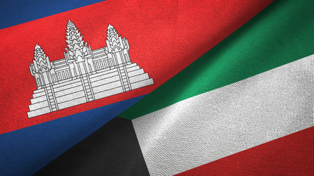 Cambodia and Kuwait two flags textile cloth, fabric texture