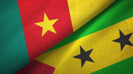 Cameroon and Sao Tome and Principe two flags textile cloth, fabric texture