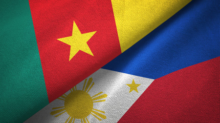 Cameroon and Philippines two flags textile cloth, fabric texture