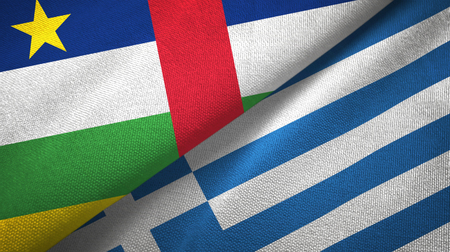 Central African Republic and Greece two flags textile cloth, fabric texture