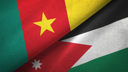 Cameroon and Jordan two flags textile cloth, fabric texture