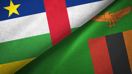 Central African Republic and Zambia two flags textile cloth, fabric texture
