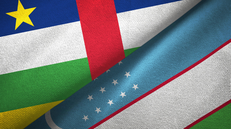 Central African Republic and Uzbekistan two flags textile cloth, fabric texture