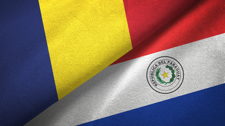 Chad and Paraguay two flags textile cloth, fabric texture