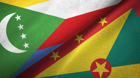 Comoros and Grenada two flags textile cloth, fabric texture