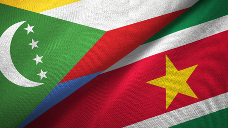 Comoros and Suriname two flags textile cloth, fabric texture