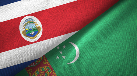 Costa Rica and Turkmenistan two flags textile cloth, fabric texture