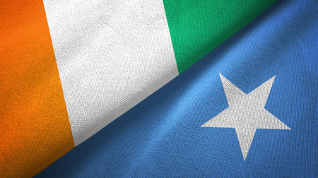Cote dIvoire and Somalia two flags textile cloth, fabric texture