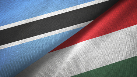 Botswana and Hungary two flags textile cloth, fabric texture