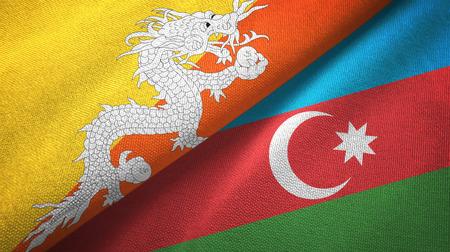 Bhutan and Azerbaijan two flags textile cloth, fabric texture Stockfoto