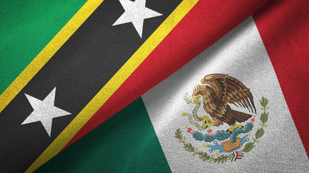 Saint Kitts and Nevis and Mexico two flags textile cloth, fabric texture