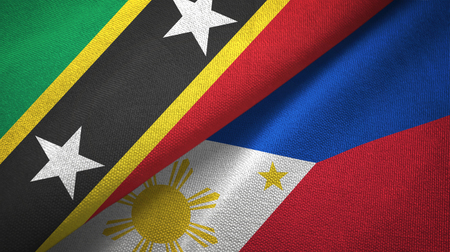 Saint Kitts and Nevis and Philippines two flags textile cloth, fabric texture