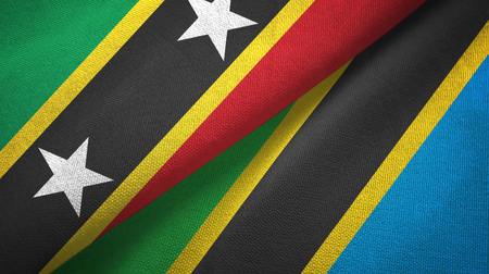 Saint Kitts and Nevis and Tanzania two flags textile cloth, fabric texture
