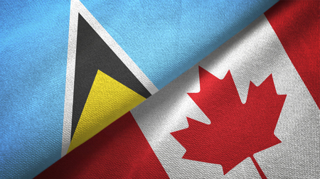 Saint Lucia and Canada two flags textile cloth, fabric texture