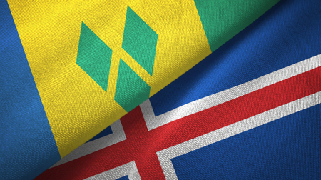 Saint Vincent and the Grenadines and Iceland two flags Archivio Fotografico