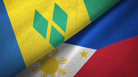 Saint Vincent and the Grenadines and Philippines two flags Stock Photo