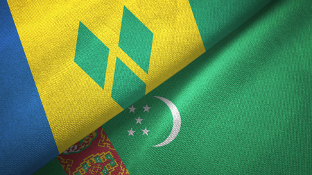 Saint Vincent and the Grenadines and Turkmenistan two flags