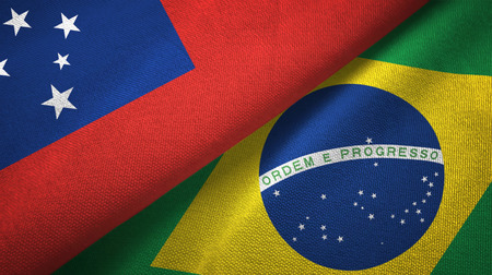 Samoa and Brazil two flags textile cloth, fabric texture
