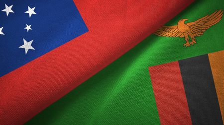 Samoa and Zambia two flags textile cloth, fabric texture
