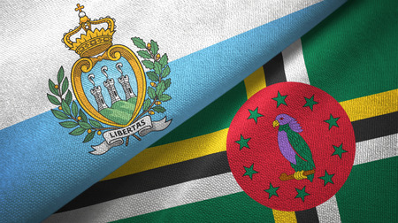 San Marino and Dominica two flags textile cloth, fabric texture