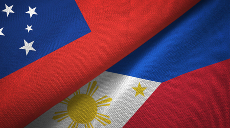 Samoa and Philippines two flags textile cloth, fabric texture