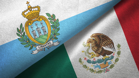 San Marino and Mexico two flags textile cloth, fabric texture