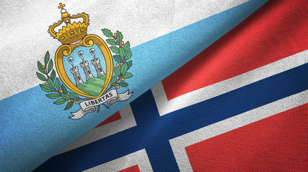 San Marino and Norway two flags textile cloth, fabric texture Stock Photo